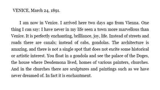 Chekhov to brother Ivan, 24 March1891, Venice 01