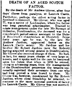 January 1893 - Andrew Glover, Factor for Lanrick (Dillot)