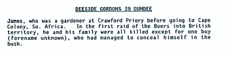 Deeside Gordons in Dundee (James Gordon, gardener at Crawford Priory)