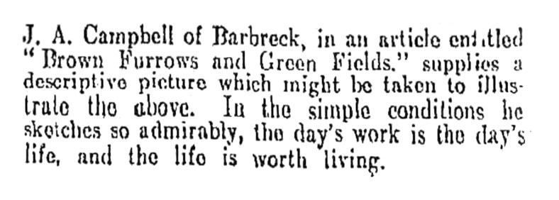 Brown furrows and Green Fields - J A Campbell of Barbreck