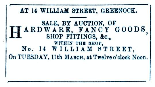 8 March 1884 14 Will iam Street, Greenock