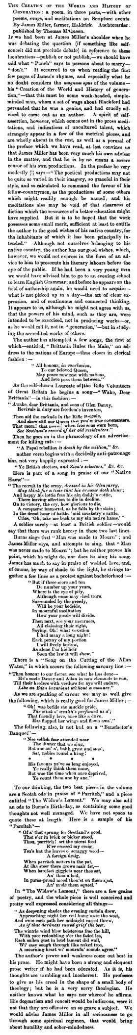 March 1862 - James Miller's epic poem is published - Haldrick