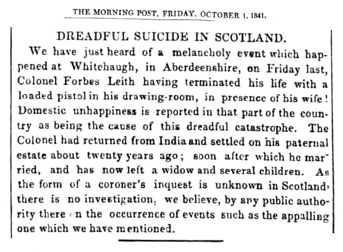 September 1941 - Suicide of James Forbes-Leith of Whitehaugh, Alford