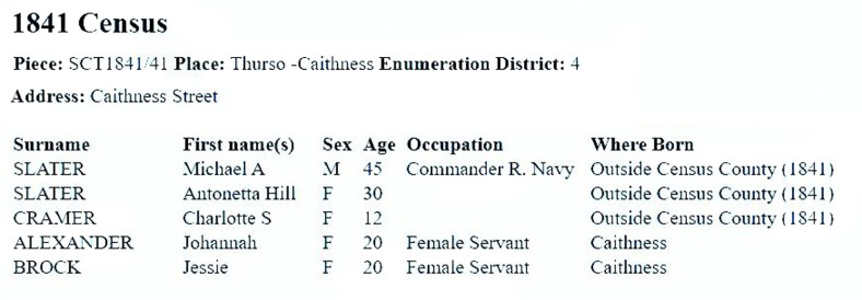 1841 census - Captain Slater