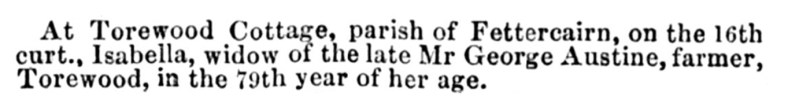 Dec 1843 Torewood cottage - Mrs Ausine