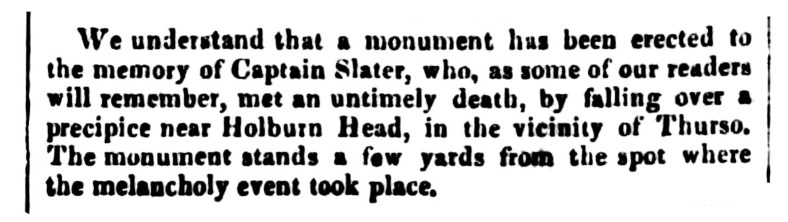 Nov 1842 Monument for Captain Slater