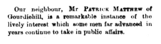 1864 Patrick Matthew of Gourdiehill - an ageing scholar