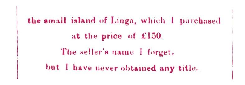 Linga island - John Walker Bankruptcy - Dec 1880