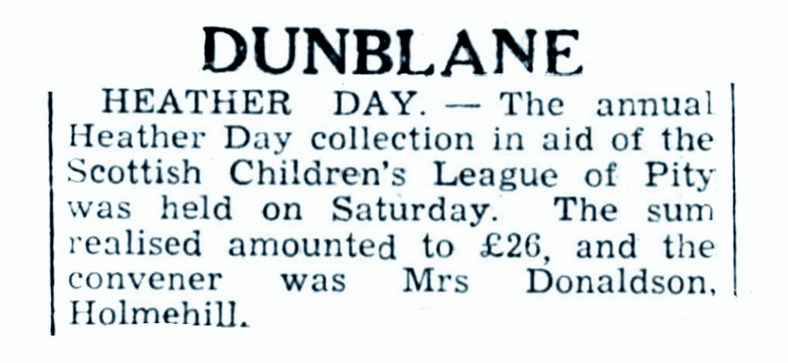20 Sept 1945 Mrs Charles Donaldson, Holmehill, Dunblane
