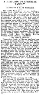 1 June 1904 Miss Mercer is buried at Glentulchan
