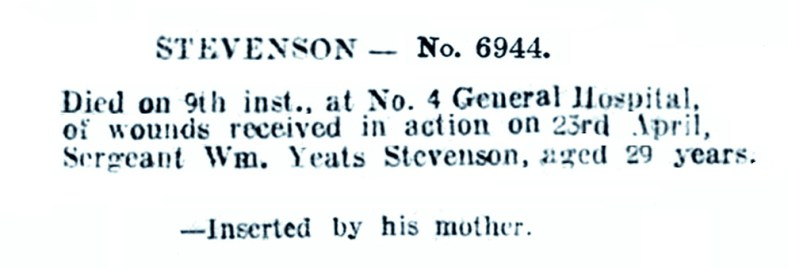 May 1917 Deaths on Service William Yates Stevenson, Jawhills