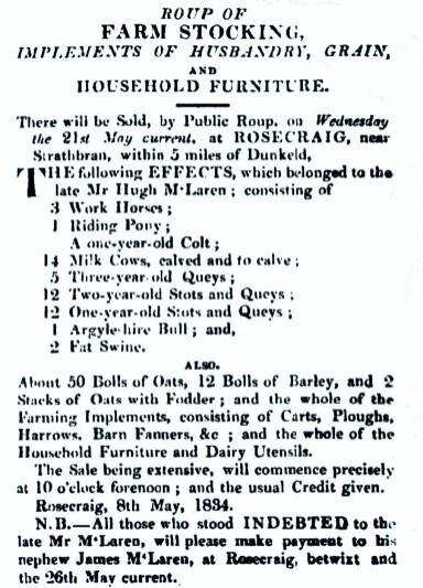 Hugh McLaren 1834, Rosecraig, Strathbraan
