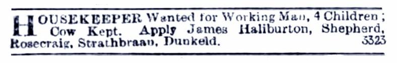 Jan 1899 Rosecraig, Strathbraan