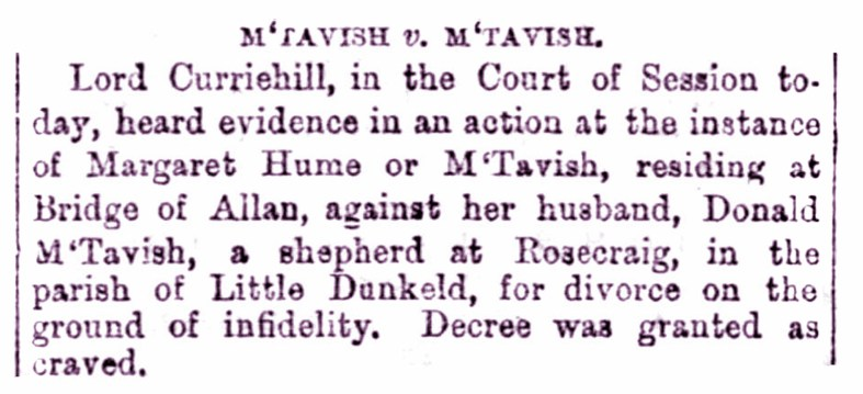 Nov 1876 Rosecraig, Strathbraan, Divorce - Bridge of Allan