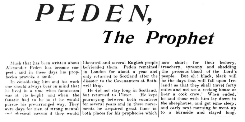 PEDEN the Prophet, Ayrshire
