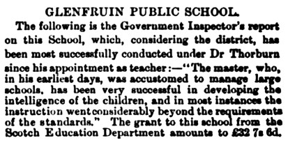 July 1880 Glenfruin School