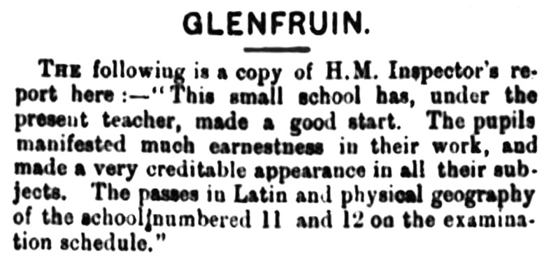 Sept 1883 Glenfruin School