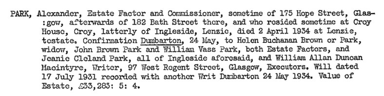 Alexander Park, Lenzie, died 1934 - Factor for Gartshore