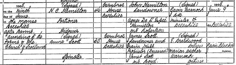 Hugh C Hamilton of Carnbroe House 1908 marriage to Ann Scott