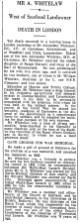 June 1938 - death of Alexander Whitelaw of Gartshore