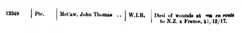 John Thomas McCaw killed in WWI