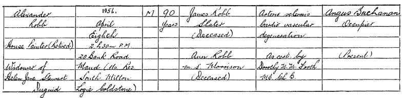 1956 death of Sandy Robb of South Milton