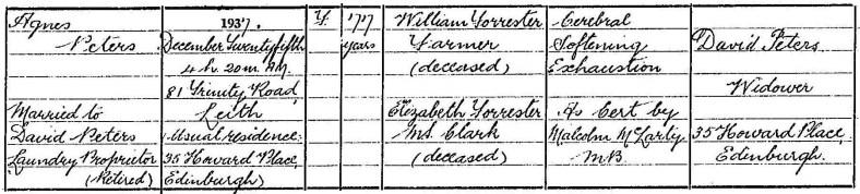 1937 death Agnes Forrester, Edinburgh