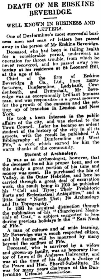 Aug 1920 death of Erskine Beveridge
