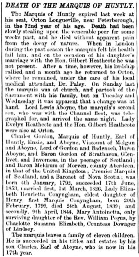 Death of the 10th Marquis of Huntly