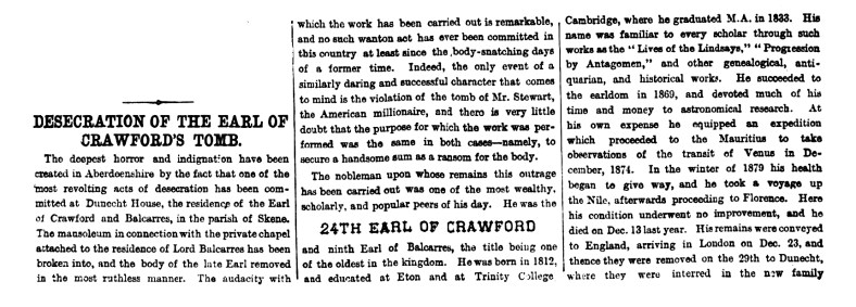Desecration of the Earl of Crawford's tomb, Dunecht - 10 Dec 1881