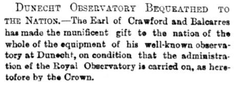 Dunecht Observatory - 5 Sept 1888