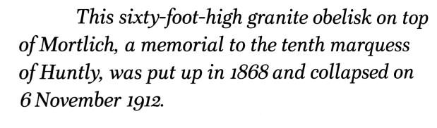 Mortlich Obelisk - it collapsed in 1912
