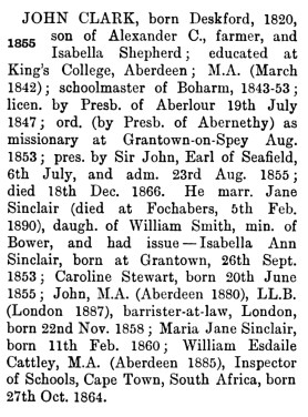 Rev John Clarke, Knockando - family details