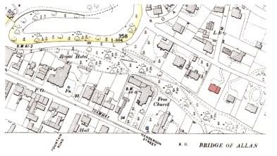 The Hawthorns, Bridge of Allan, OS map
