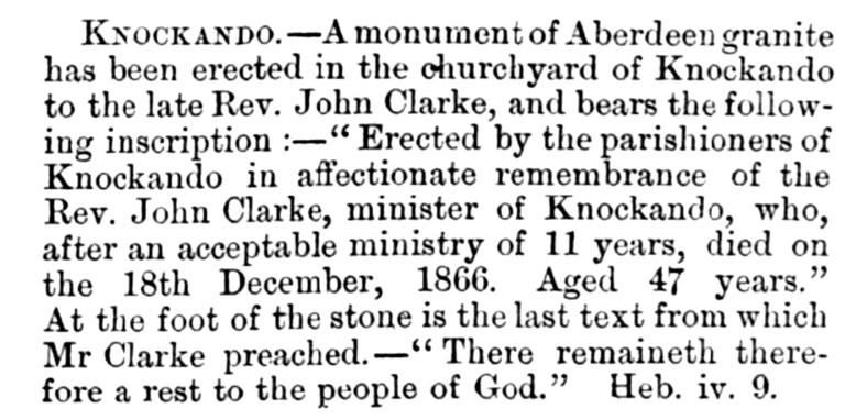 memorial to Rev John Clarke, Knockando