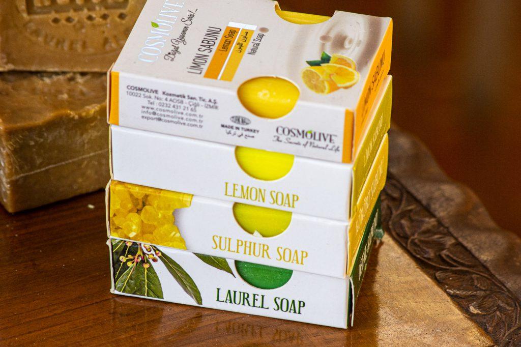 four natural soaps: lemon. sulphur and turmeric