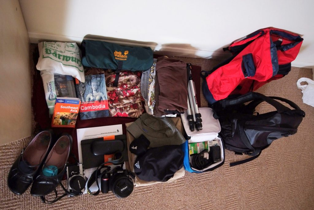 packing by backpack for two weeks in Cambodia
