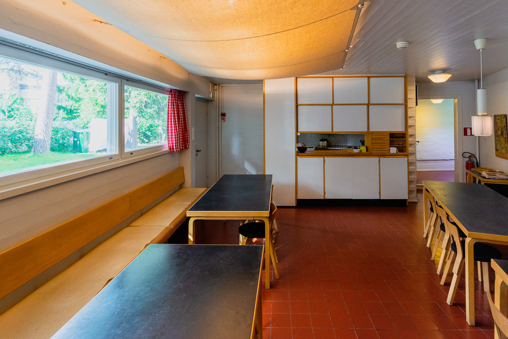 the small but fully functional professional kitchen at Studio Aalto, Helsinki