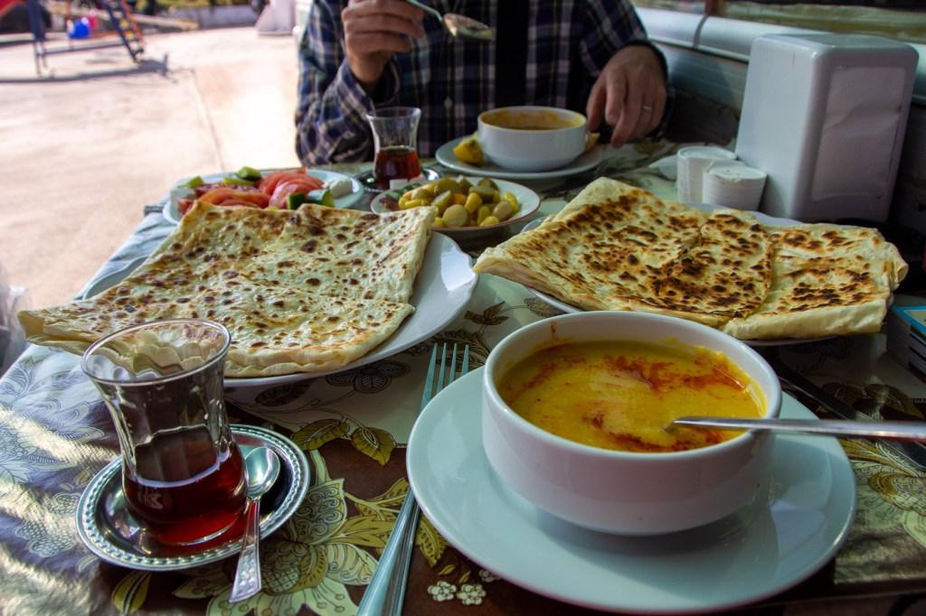 Gozleme and lentil soup