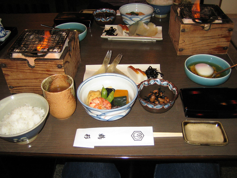 traditional breakfast at Tsurugata Ryokan, Kurashiki