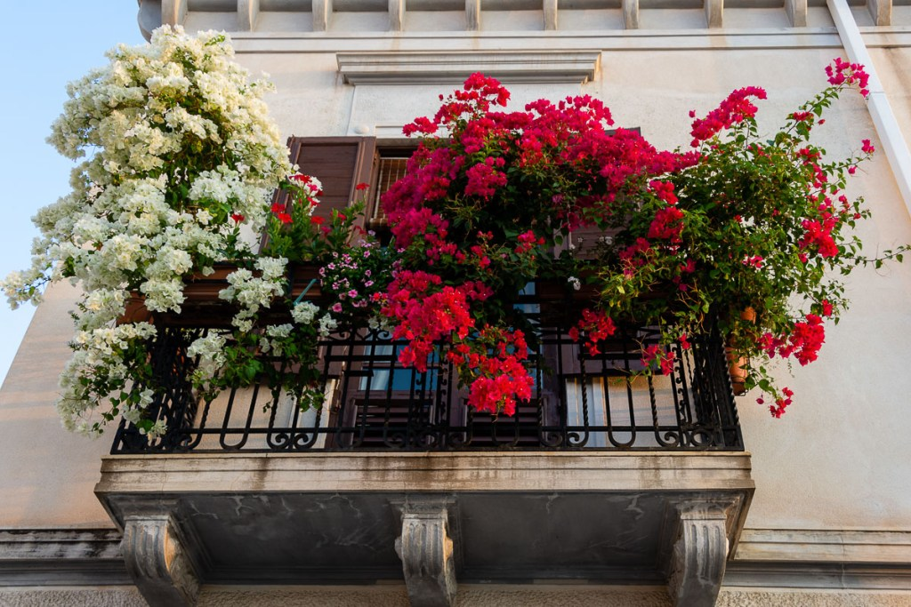 A flower-filled balcony in Milazzo, Sicily