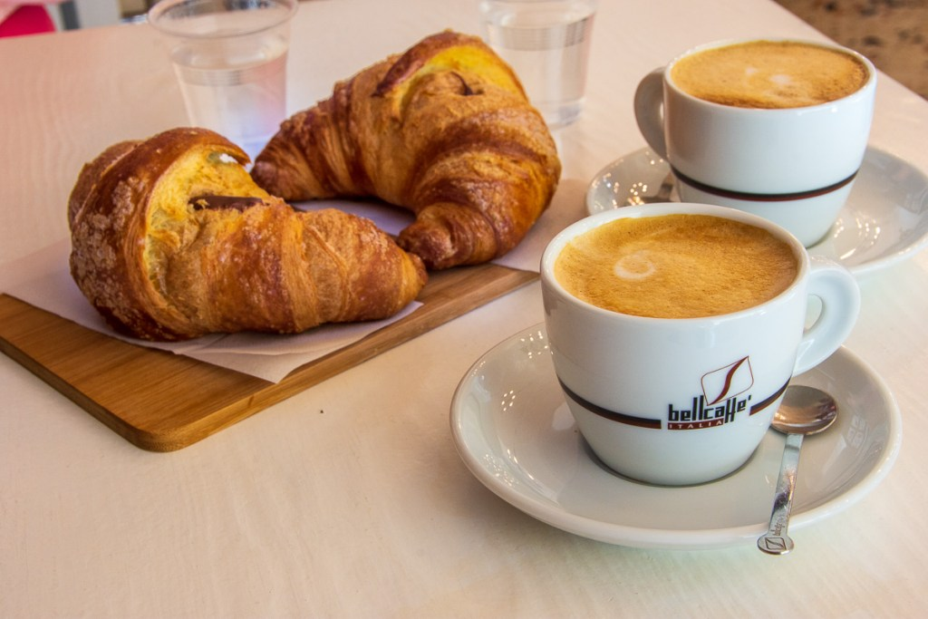 a very Italian breakfast of croissants or cornetto and coffee