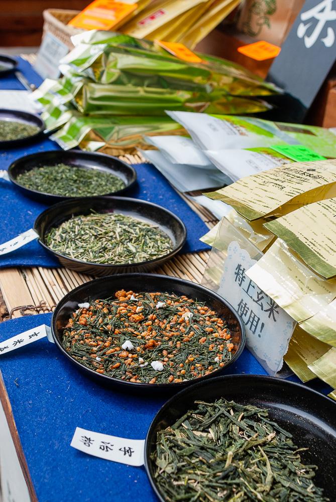 Sampling tea in Uji
