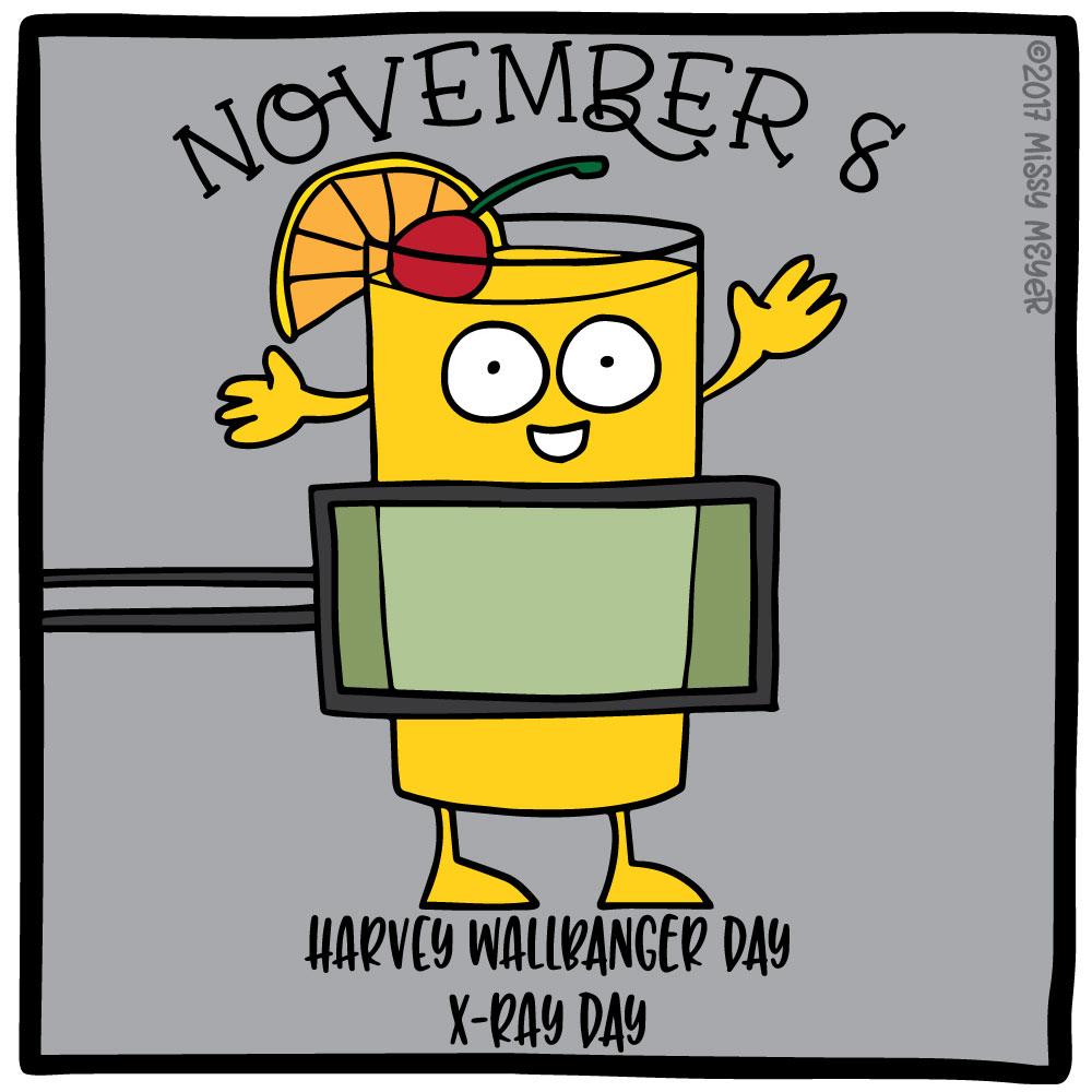 November 8 (every year): Harvey Wallbanger Day; X-Ray Day