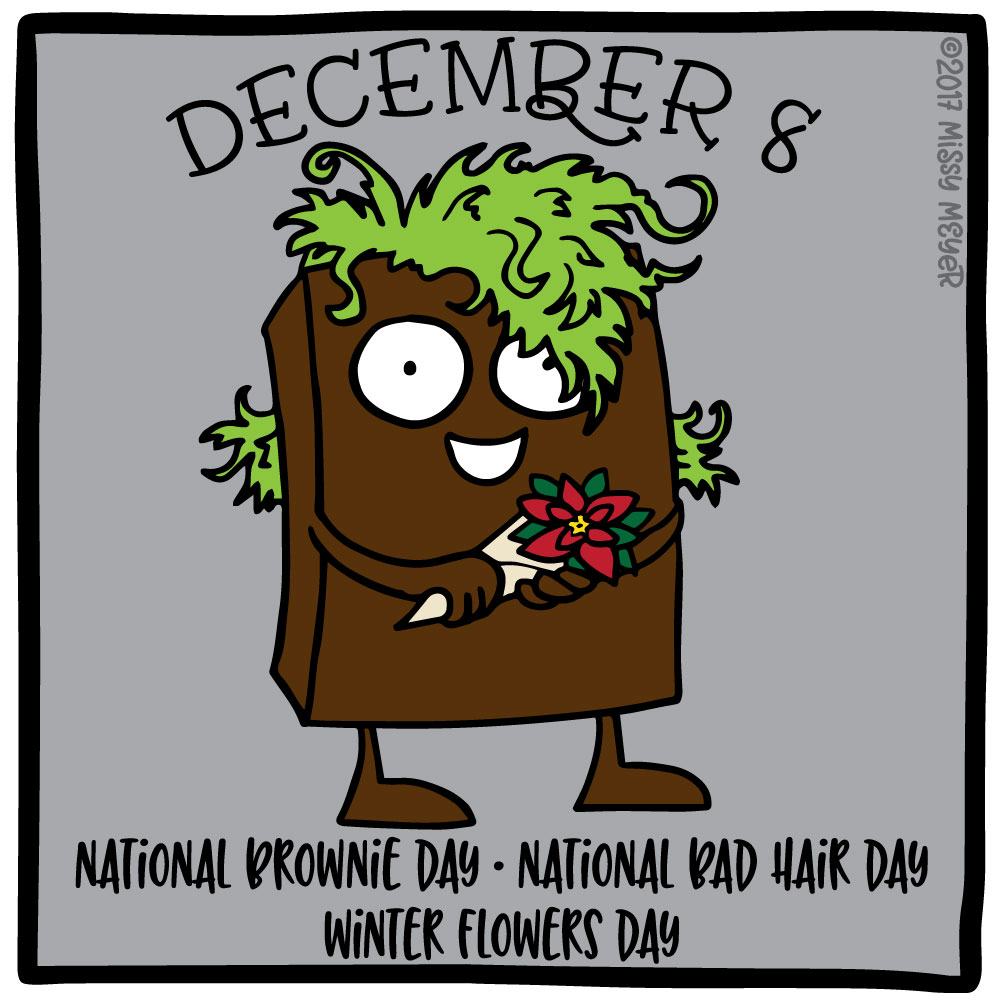December 8 (every year): National Brownie Day; National Bad Hair Day; Winter Flowers Day
