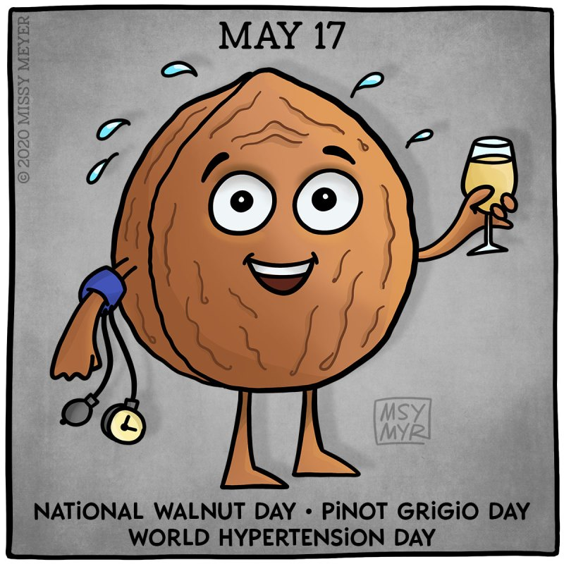 May 17: National Walnut Day, Pinot Grigio Day, World Hypertension Day