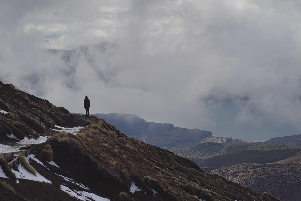 Tongariro crossing winter hiking