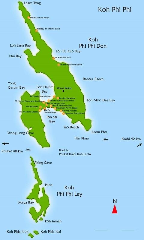 Отдых на островах Тайланда, острова Пи Пи на карте