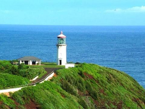 Отдых на Гавайских островах, маяк - Даниэль К. Иноуэ Килауэа на острове Кауаи