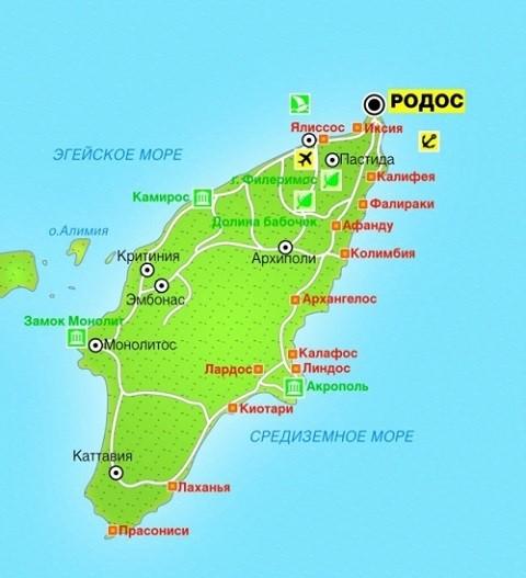 Отдых на острове Родос, карта острова